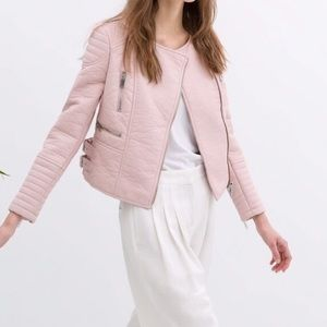 Zara Pink Leather Moto Jacket